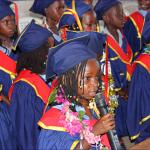 Graduating kindergarten pupils said a few words