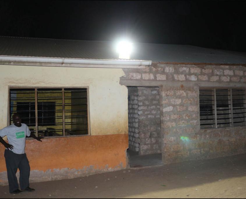 Lights illuminating the main gate