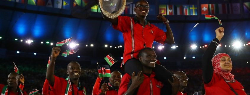 Team Kenya at the Opening Ceremony, Summer Olympics 2016 in Rio